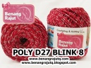 benang rajut medium POLY D27 BLINK - 8 (MERAH +SILVER)