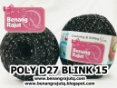 benang rajut medium POLY D27 BLINK - 15 (HITAM + SILVER)