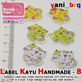 LABEL KAYU HAND MADE 8  (isi 6 BUAH) MODEL KUCING LUCU